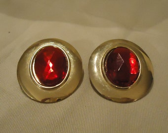 Large Vintage Oval Shaped Gold Metal Pierced Earrings Bright Red Colored Plastic Gems Cabochon Centers Vintage 1980's Costume Jewelry