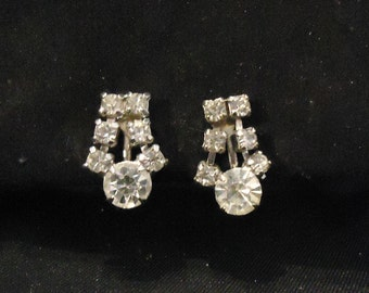 Vintage Dangle Silver and Clear Crystal Dangle Screw Back Earrings