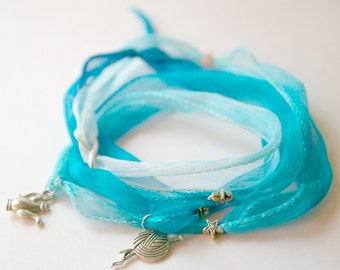 SALE Silk Wrap Charm Bracelet : Natural Hand Dyed Ombre Blue for Knitters