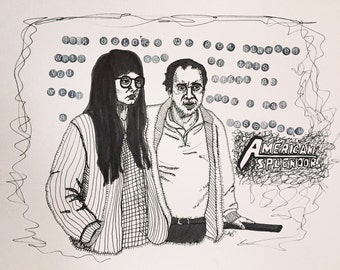 American Splendor 9x12 ink illustration original line drawing