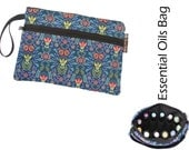 Essential Oils Deluxe Take Along Wristlet Bag by Borsa Bella - Waterproof lining fabric - Front Zippered Pocket - Sweet Home Fabric