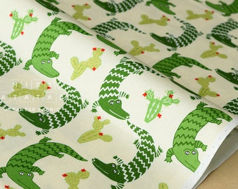 Japanese Fabric Yuwa Crocodile and Cactus - fat quarter