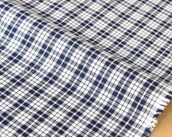 Japanese Fabric - yarn dyed gingham check - navy blue - 50cm