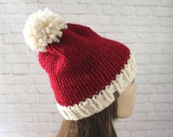 Knit Santa Hat, Santa Claus Hat, Christmas Hat, Womens Santa Hat, Mens Santa Hat, Chunky Knit Hat, Cozy Hat, Ski Hat, Chunky Knits