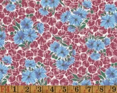 Vintage Feedsack Fabric - Blue Bachelor's Buttons on Wine Red - Quilting Cotton 1940s 1930s