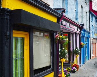Skibbereen Shops, Co. CORK, Florist Photo, Quaint Street, Colorful Shop Fronts, European florist, Bridge Street, Yellow Door, Rainbow Houses
