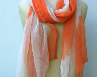 B quality coral orange white vintage dupatta Scarf, Indian summer scarf Bohemian woman tie dye sheer woman scarf cover up, India scarf stole