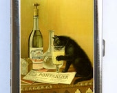 Absinthe Black Cat Poster Cigarette Case Wallet Business Card Holder vintage art nouveau