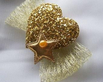 Glitter HEART and STAR BOW Sparkle Hairclip