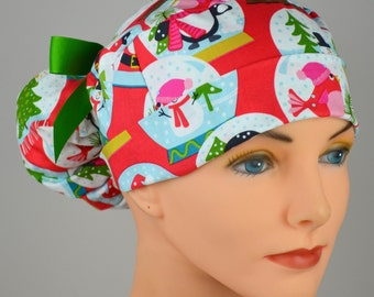 Christmas Scrub Hats // Scrub Caps // Scrub Hats for Women // The Hat Cottage // Ponytail // Snow globes