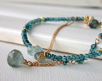 Tuesday Temptation. Seaside Gemstone Bracelet. Multi strand Bracelet. Moss aquamarine, apatite, moss quartz.