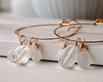 Gemstone Hoop Earrings. Crystal Quartz Earrings. Crystal Quartz Hoops. Wedding Hoops. Bridal Hoop Earrings. Lightweight Hoops.