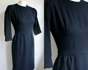 Vintage 1950's Black wool wiggle dress by Helen Whiting // small
