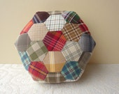 Hand Sewn Hexagons - Patchwork Large Pin Cushion or Small Pillow - Plaids / Checks