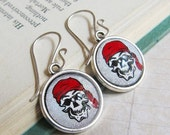 Sale - Prism Collection - Crossbones - Glittering Pirate Skull Print Earrings