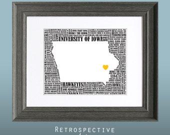 University of Iowa Hawkeyes Word Art Map Printable