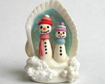 Miniature  Fairy Snowman Friends Diorama in tiny Seashell  OOAK by C. Rohal