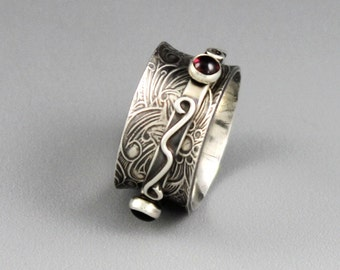 MADE to ORDER - Sterling Silver Spinner Ring with Gemstones - Little Twiddle II
