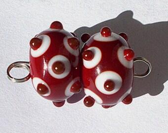 Handmade Lampwork Beads by Cheryl's Art Red and White Pair Item 21805