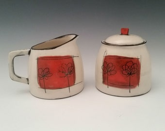 Ceramic Creamer and Sugar Set, Modern Cream and Sugar, Pottery Set