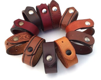 Leather Napkin Rings Handmade From EcoFriendly Mixed-up Reclaimed Brown Belts, Set of 12, One Dozen, Table Setting, Unique, OOAK
