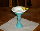 Wooden bird bath trinket holder with a American Goldfinch (handmade and designed)