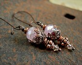Sugar Pink Earrings, Crystal & Copper, Firefly, Dainty Ear Drops, Sparkly, Unique, Faery Couture, Boho Glam, Elksong Jewelry
