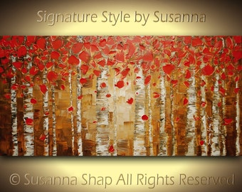 Red birch Original Tree Landscape Oil Painting Abstract Painting Art Aspen Modern Palette Knife Impasto Artwork 48x24 Made to Order -Susanna