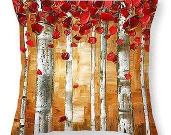 Throw Pillow- Modern Birch Trees Decorative Accent Pillow & Cover brown red modern sofa couch home decor 14x14 16x16 18x18 20x20 26x26 20x14