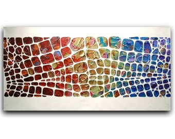 Abstract Painting Original Palette Knife Acrylic Texture Large Modern colorful abstract painting -susanna 48x24 made2order