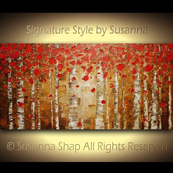 Original Landscape Oil Painting Autumn Red birch Aspen Abstract Art Modern Palette Knife Impasto Canvas Artwork 48x24 Made to Order -Susanna