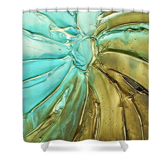 Aqua blue brown Shower Curtain, Designer Art- abstract modern interior ...