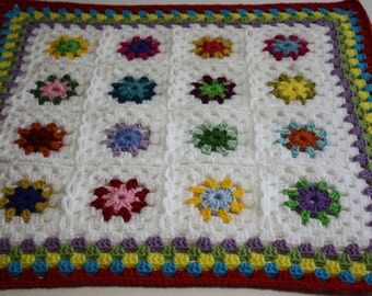 Crochet Baby Afghan Blanket Granny Square Lap Throw Baby Shower Gift