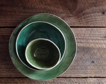 Bowl stack - green wash