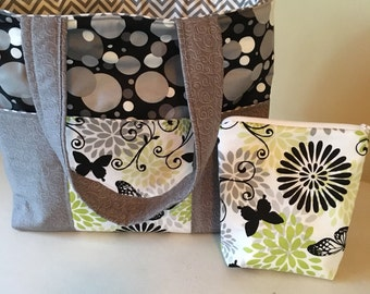 six pocket butterfly tote with zipper pouch black and white - Coloring Book Yarns