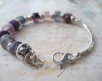 Fluorite Bracelet, Bead Bar Bracelet, Bangle Bracelet, Fluorite Heishi, Shades of Purple, Fluorite Beads, Rough Heishi Bead, candies64