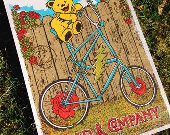 Dead & Company Portland Oregon Poster Dead And Co Grateful Dead Gigposter Dancing Bears Bike GIGART Print