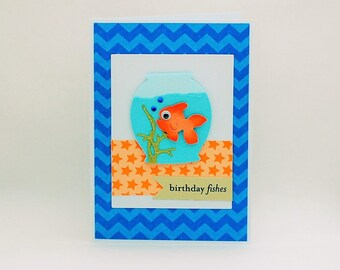 SALE  Fish Bowl Birthday Card for Adults, Kids, Teens etc