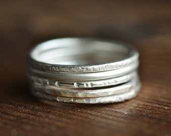 Stacking Rings - textured - sterling silver - set of 5 thin bands - five phases - five elements rings