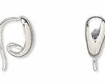 Sterling silver ear wires unique decorative 13mm reverse twist style 19 guage-one pair-15mm long x 10mm wide easy to use decorative ear wire