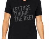 lettuce turnip the beet ® trademark brand OFFICIAL SITE - black cotton vneck shirt with distressed grey logo