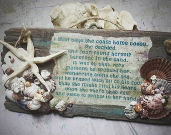 A beach love story. . .Lovely Rustic wood sign embellished with SeaDebris . .. Ocean Treasures handpicked for you. (#741)