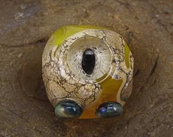 ON SALE Handmade Lampwork Glass Alien Focal Bead by Jason Powers SRA