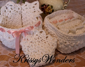 5 Crochet Patterns - Ebook - A Touch of Downton Spa Set Ebook - Crochet Pattern Lace Washcloths - Round Square Basket with Lace