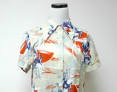 CRANES . 60s 70s bird print . button down shirt . fits a small to medium
