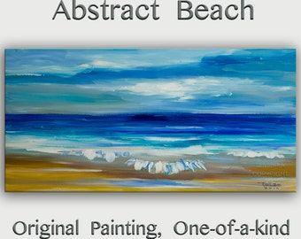 Original abstract painting Sea art Sunrise Beach Wave on gallery wrap canvas acrylic painting home art by tim Lam 48x24