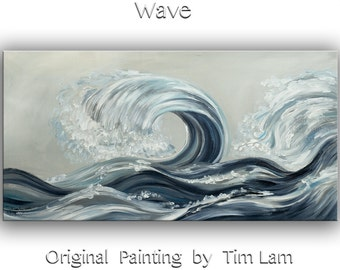 Original painting abstract sea art Rolling Wave large landscape painting on gallery wrap canvas Ready to hang by tim Lam 48x24