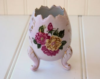 Hand-Painted Ceramic Egg - Pink & Yellow Roses - Gold Gilt - Cottage Chic - Pink Footed Egg