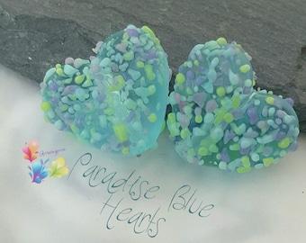Lampwork Beads Paradise Blue Love Heart Pair
