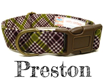 "Brown Dog Collar - Plaid Dog Collar - Preppy Dog Collar - Organic Cotton Dog Collar - Antique Brass Hardware - ""The Preston"""